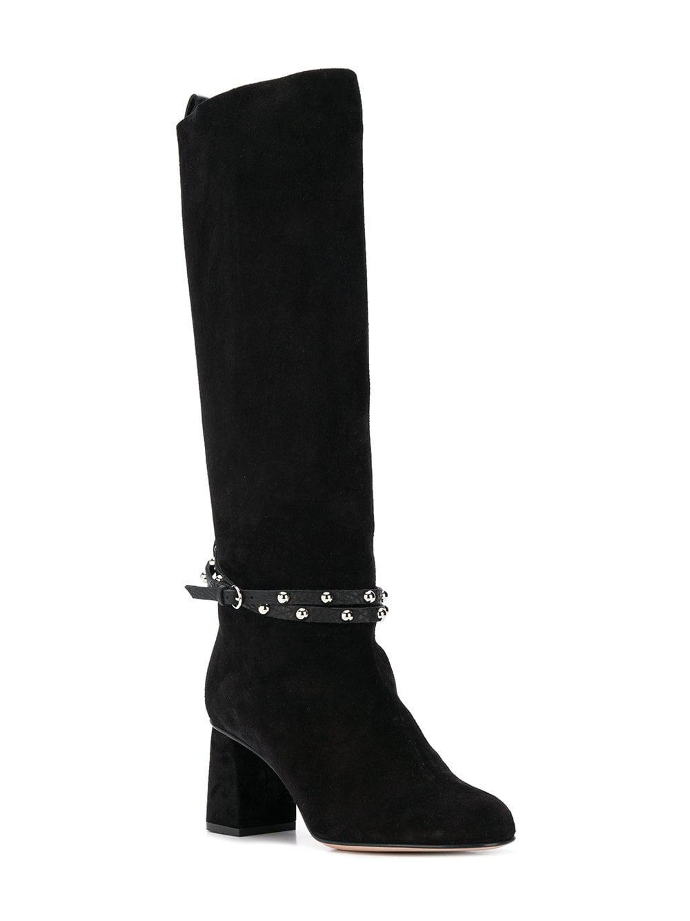 Lyst - RED Valentino Red(v) Studded Ankle Strap Boots in Black 8d66c3d0606c9