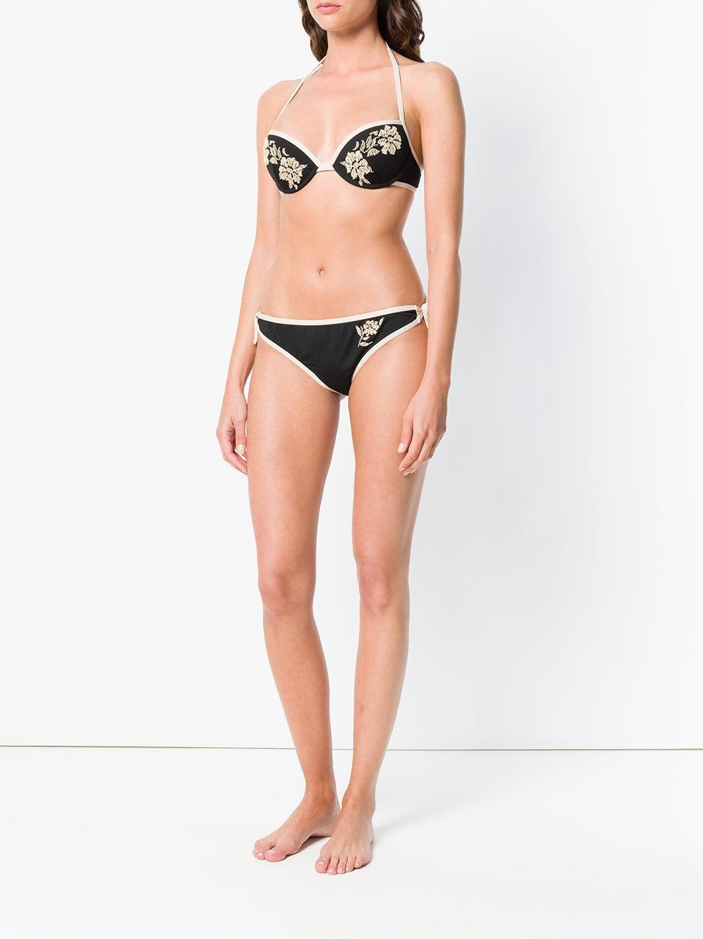e2a19d3363 Fendi - Black Tan Floral Embroidered Bikini - Lyst. View fullscreen