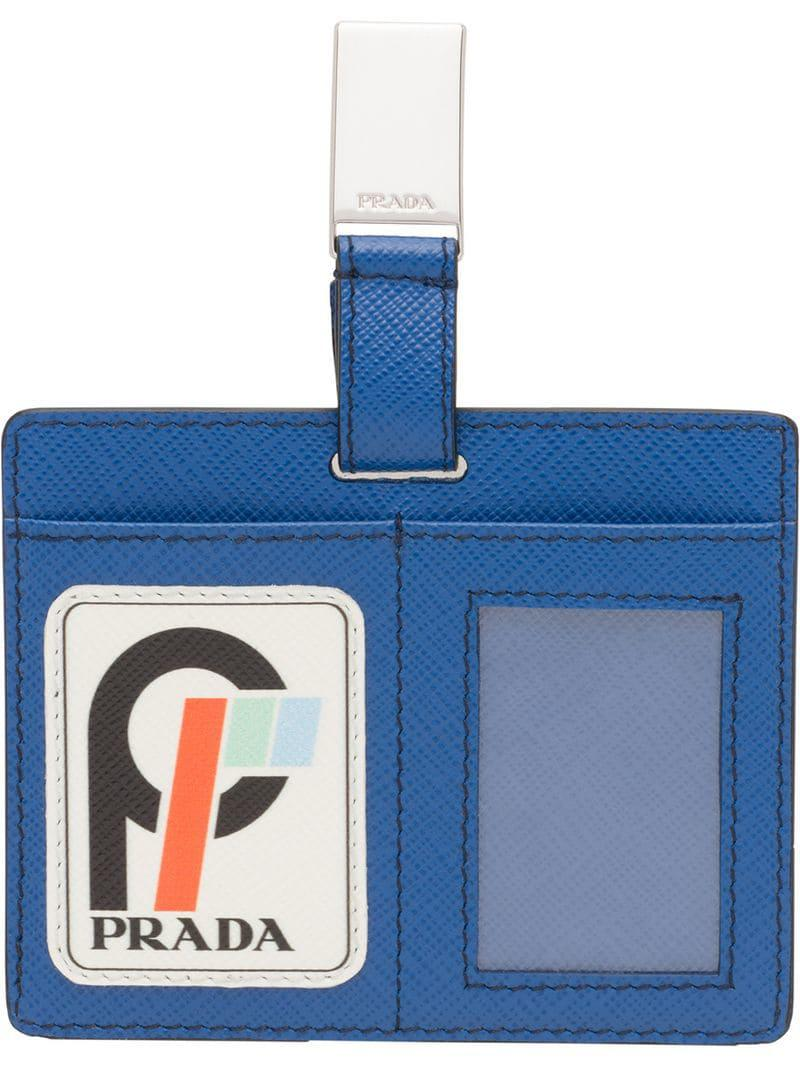 55591dc0c23984 Prada Saffiano Leather Badge Holder in Blue for Men - Lyst