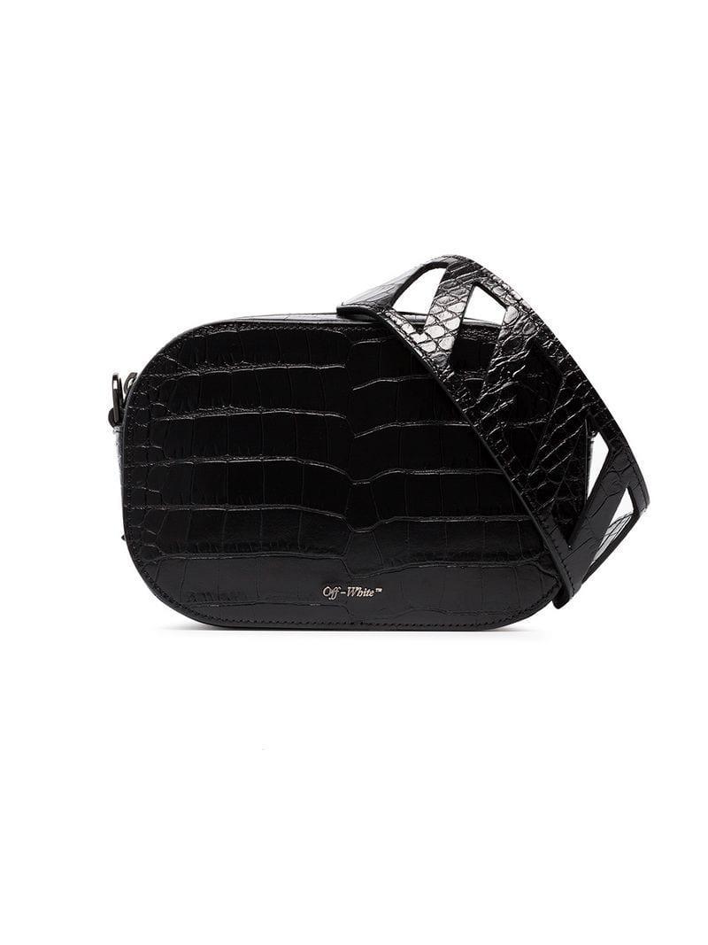 70a403567c3c Off-White c o Virgil Abloh. Women s Black Crocodile Embossed Leather Camera  Bag