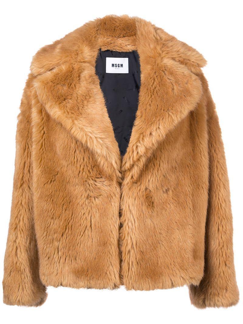 Msgm Brown Faux In Fur Lyst Jacket 4wOqA7