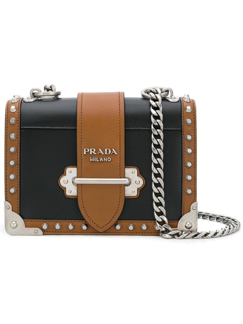 Prada Cahier City Calf Shoulder Bag in Black - Lyst 256513c224345