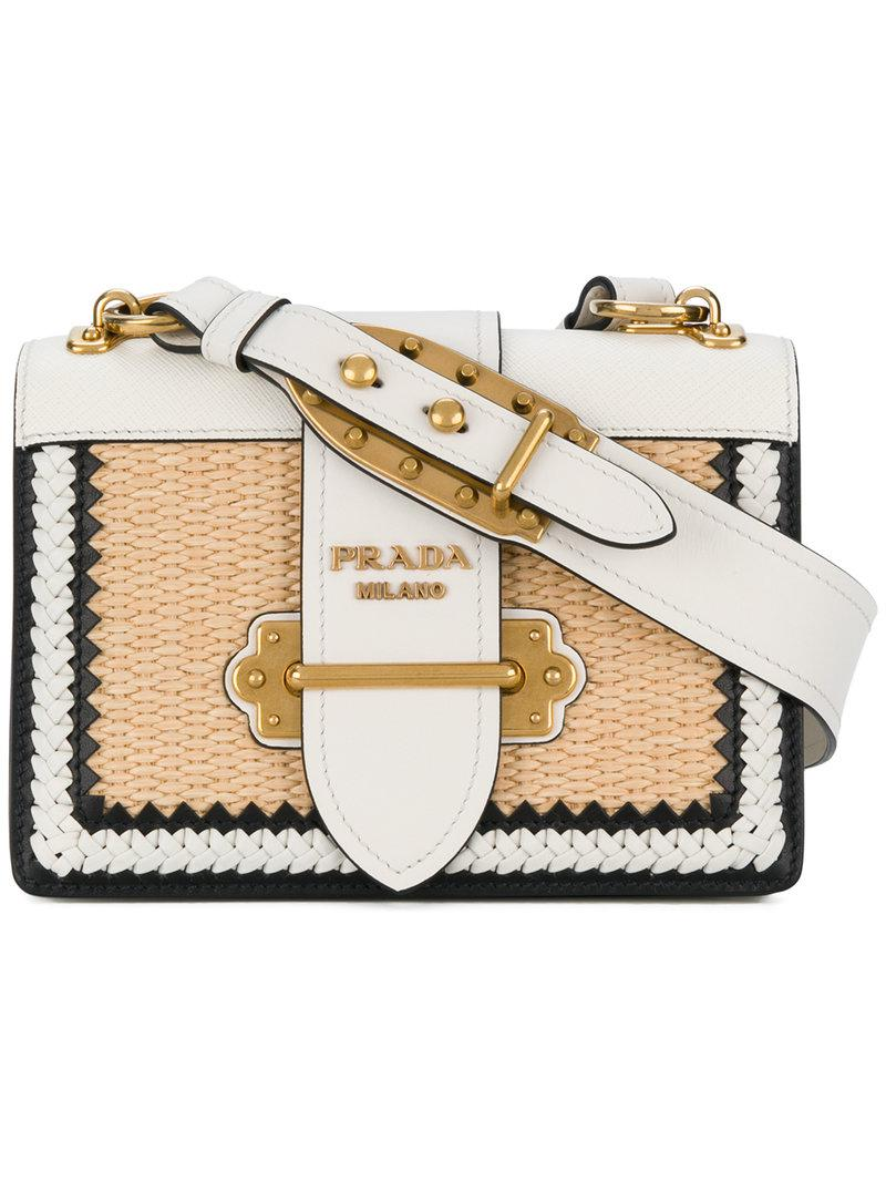 07e9545f1ad5 Prada White Raffia Cahier Shoulder Bag in White - Lyst