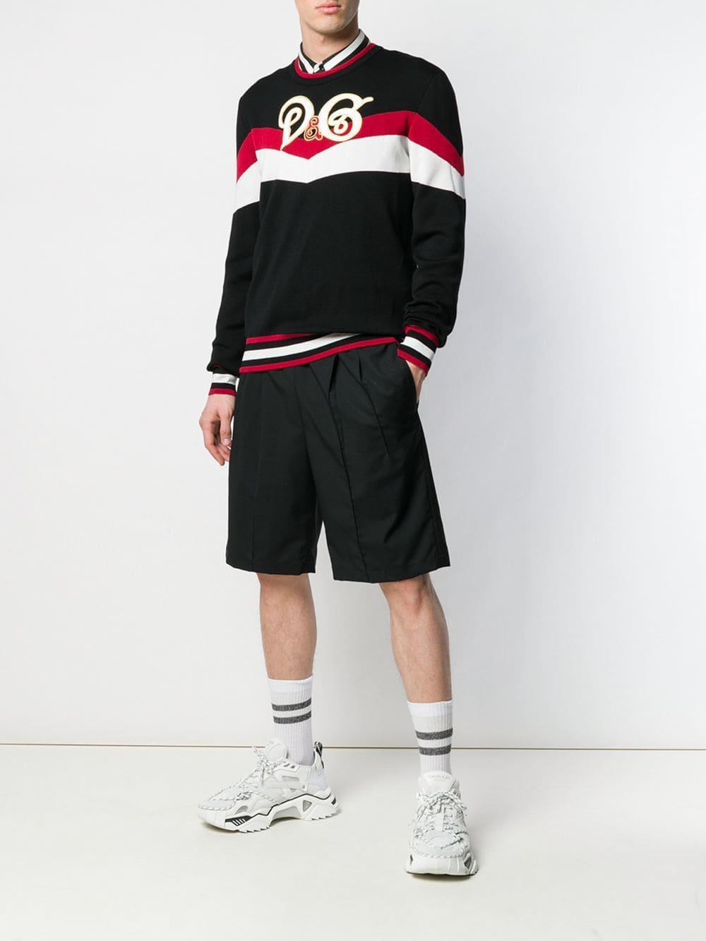 6c39dd98 Dolce & Gabbana - Black Logo Colour-block Sweater for Men - Lyst. View  fullscreen