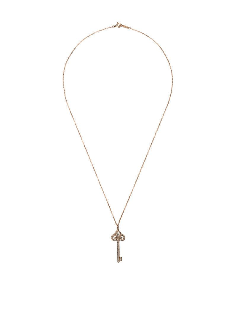 18kt rose gold Tiffany Keys Fleur de Lis diamond key pendant - Metallic Tiffany & Co. u650XXOI