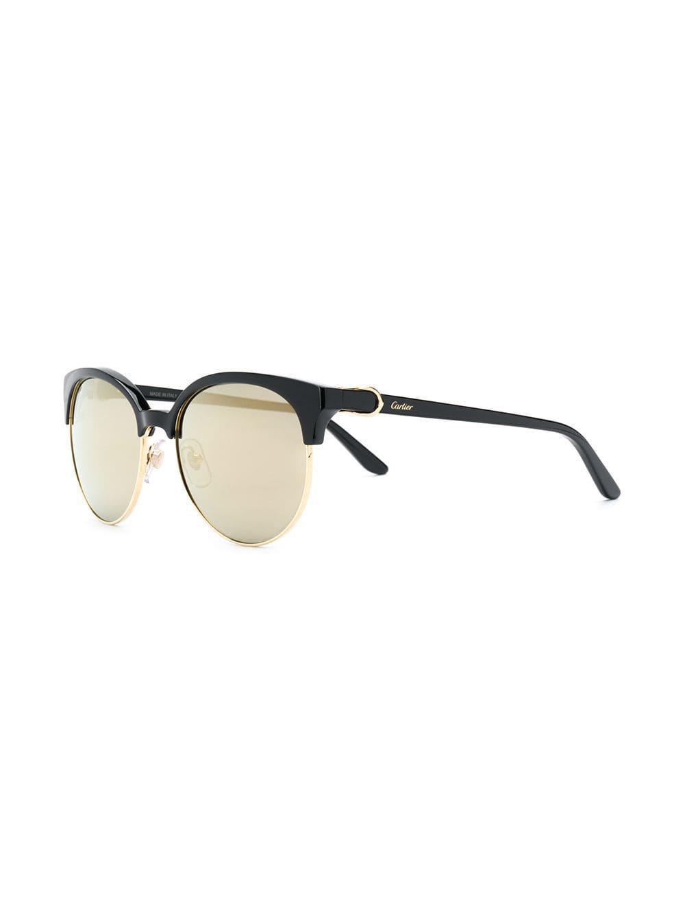 ed8b5e0a321e3 Cartier C Décor Sunglasses in Black - Lyst