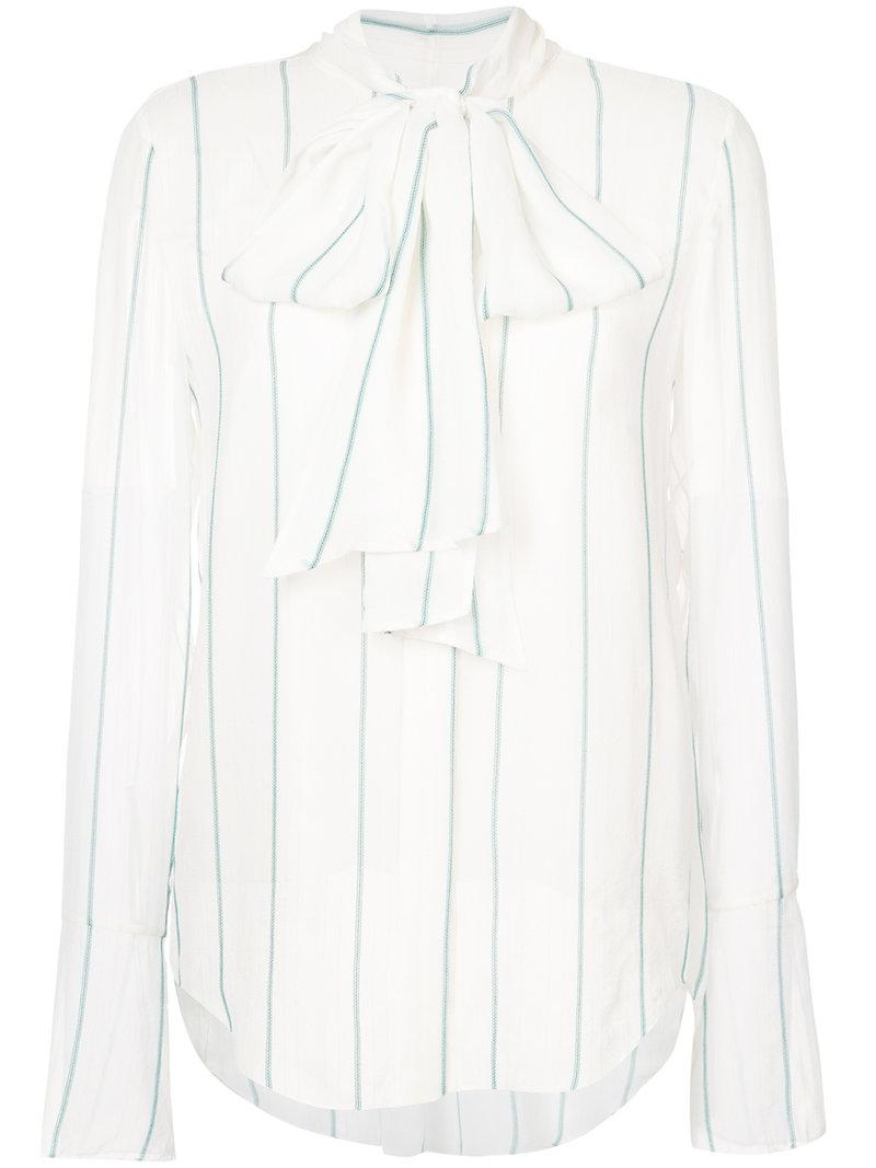 15786b912dcf1 Chloé Pussy Bow Blouse in White - Lyst