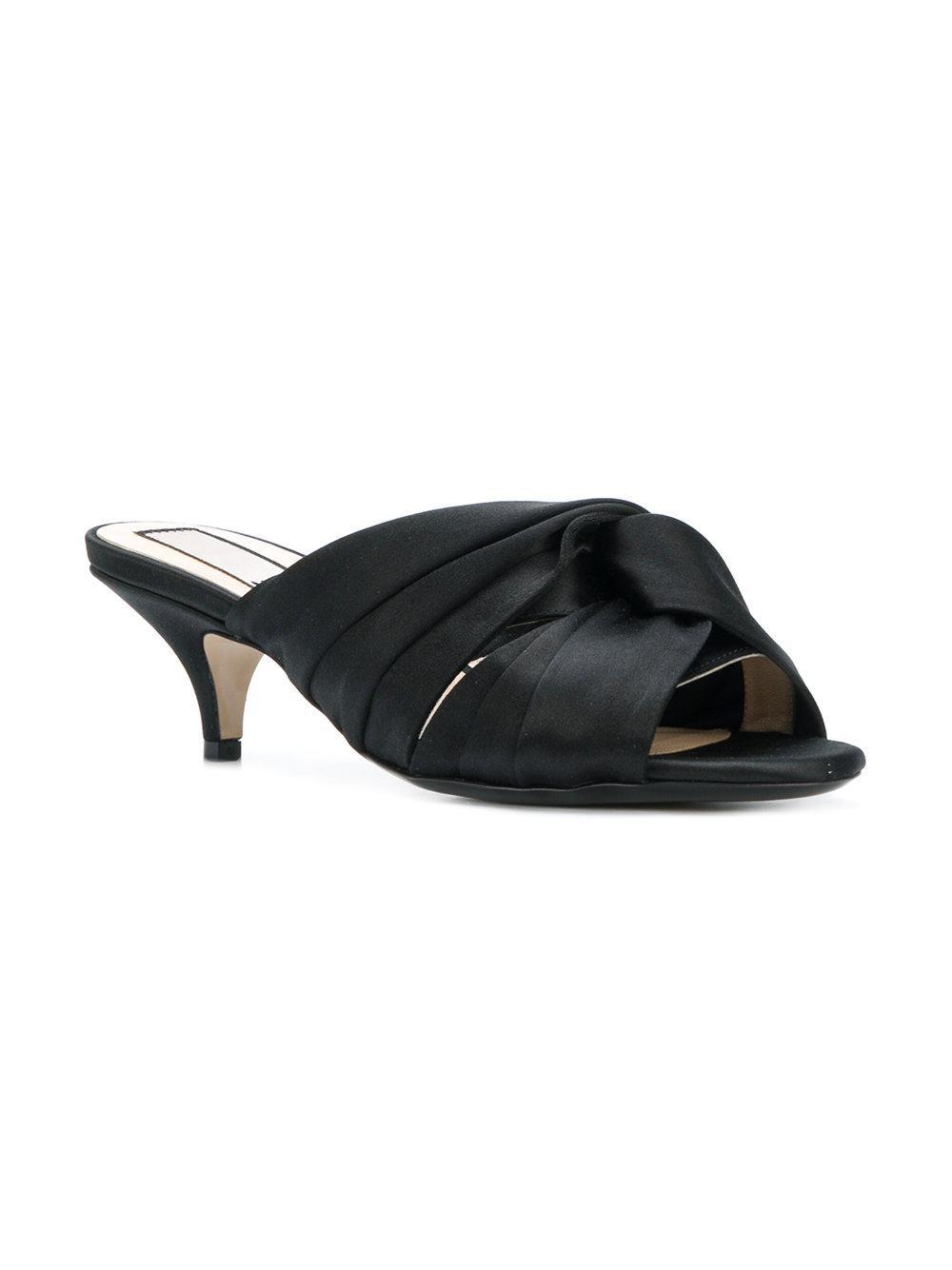 knot front kitten heel slippers - Black N UpCFsNcTyt