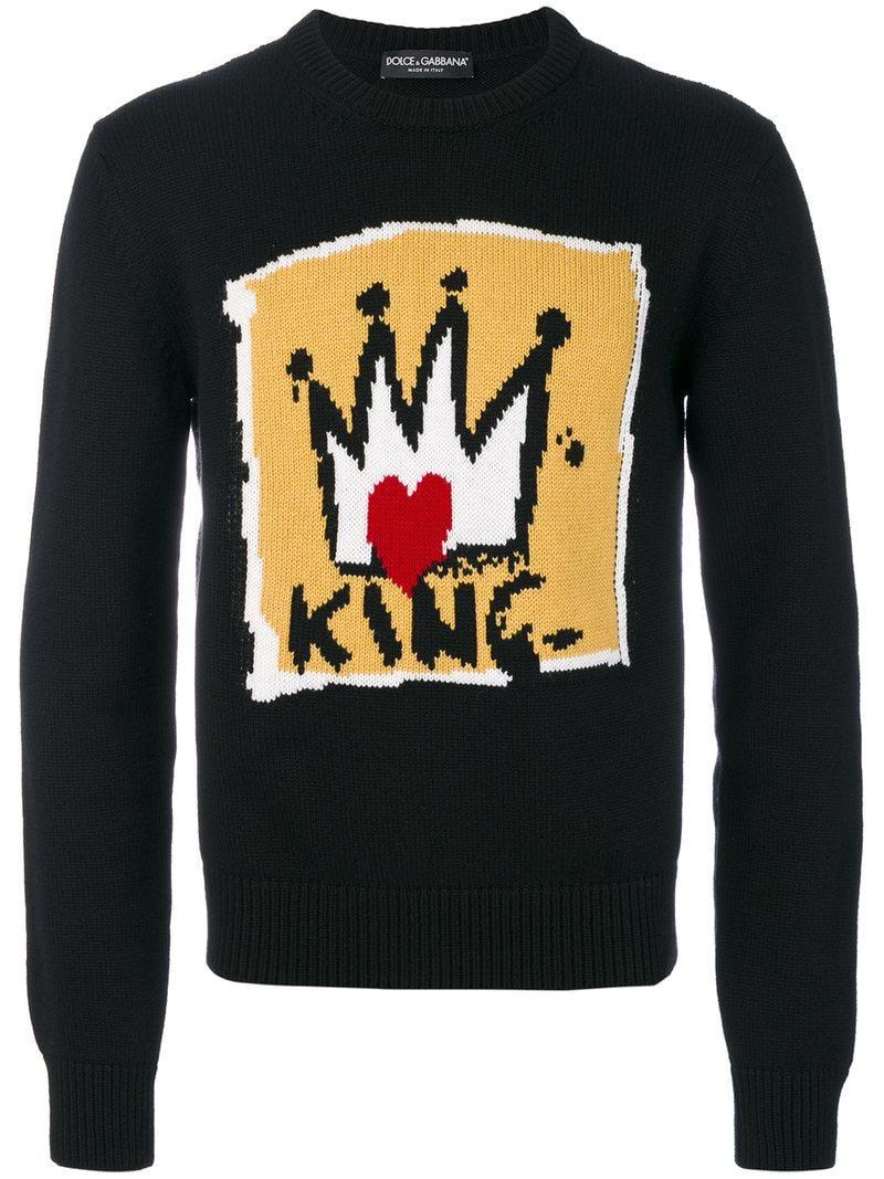 Dolce amp Gabbana King Intarsia Sweater in Black for Men Lyst