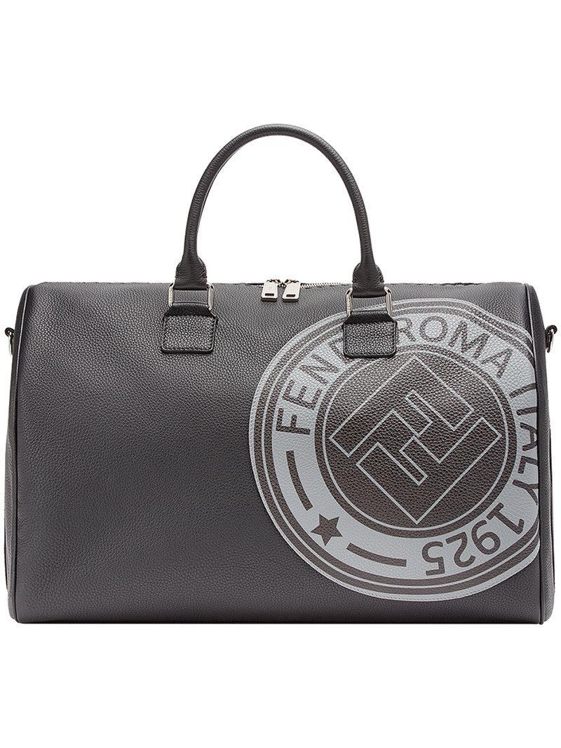 4fe870075880 Fendi Logo Print Satchel in Black for Men - Lyst