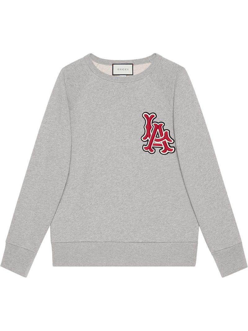 Gucci Sweatshirt With La Angelstm Patch in Gray for Men - Lyst 5202378b91b6