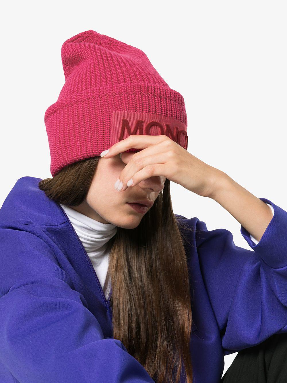 de6cb0a24b5 Lyst - Moncler Pink Logo Beanie in Pink - Save 40%