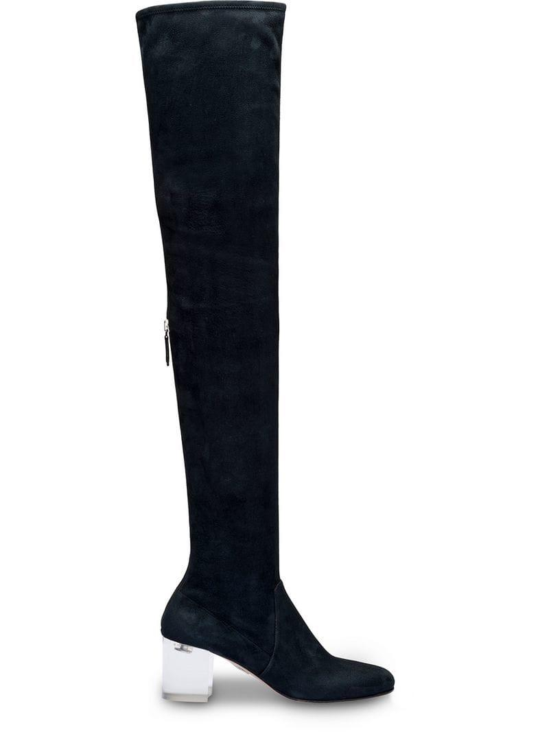 c0a0cfb6c7bc Lyst - Miu Miu Suede Over-the-knee Boots in Black