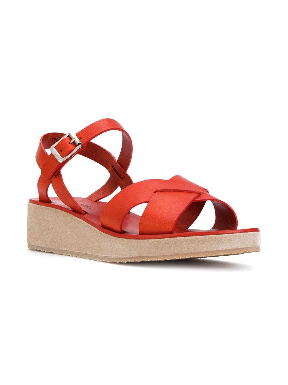 A.P.C. Orange Suede Carmin Sandals t333OQ