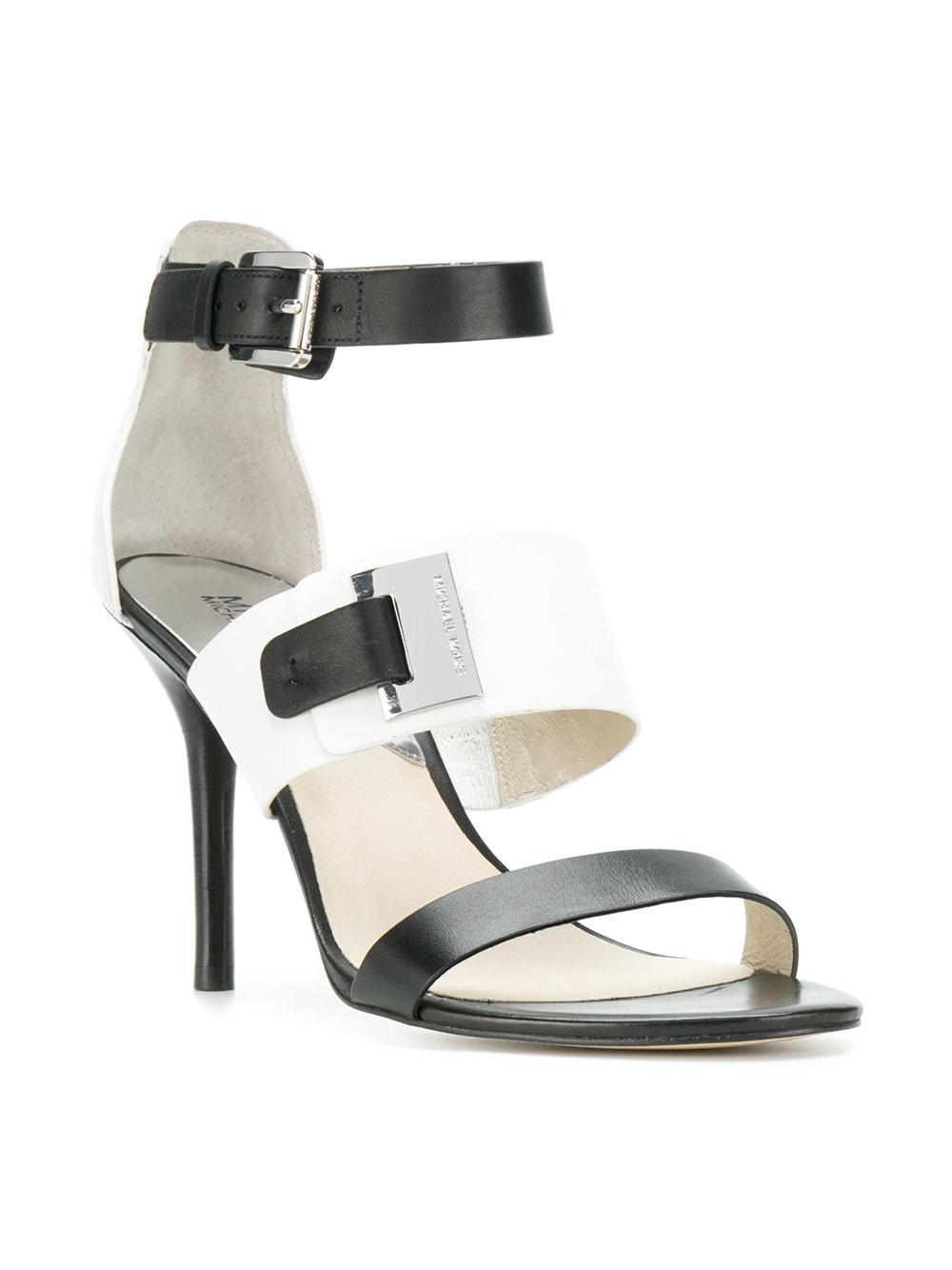 2804ec2a0e3 MICHAEL Michael Kors - Black Two-tone Strappy Sandals - Lyst. View  fullscreen