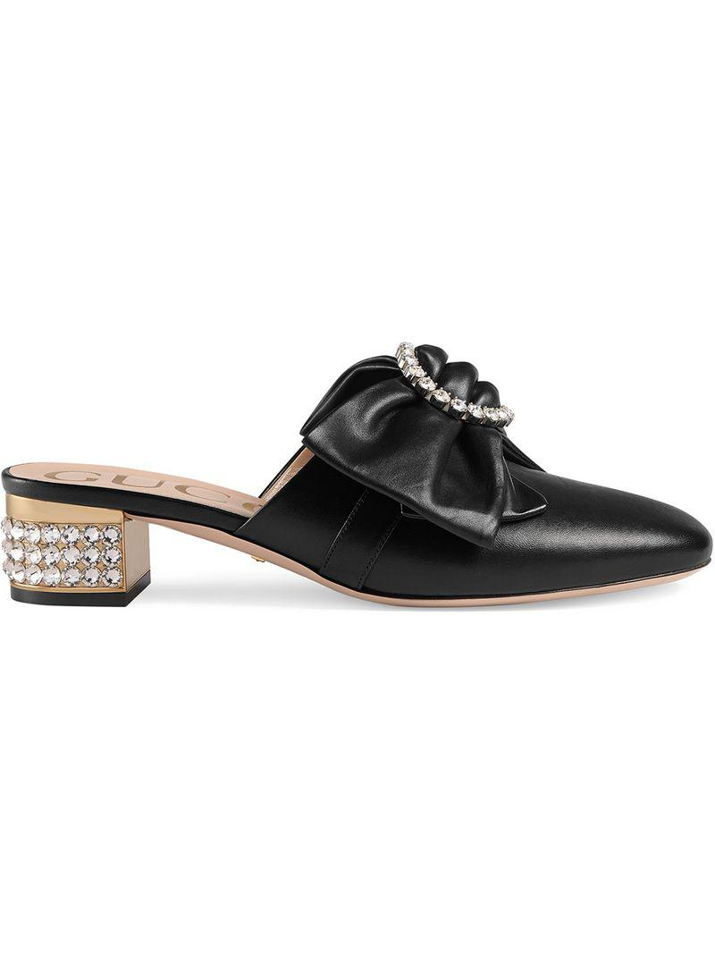 6b0f0b60c92 Lyst - Gucci Removable Bow Mules in Black