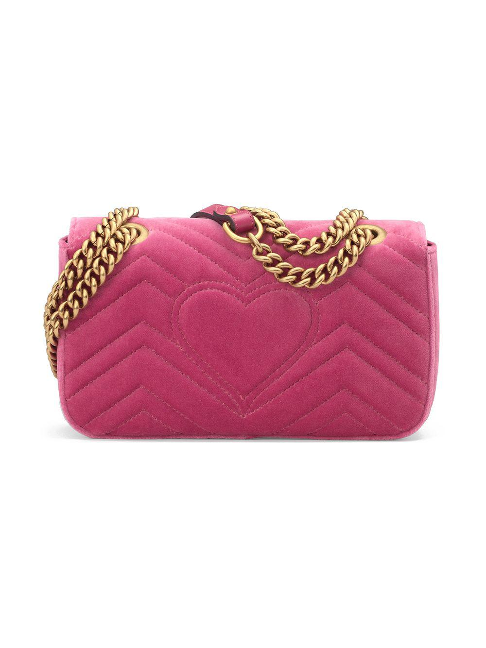 6faa81cd9d2 Lyst - Gucci GG Marmont Velvet Mini Bag in Pink