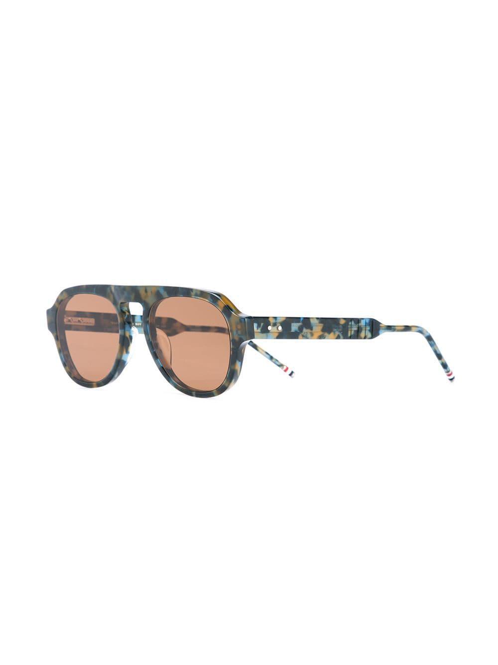 8724a654a6a5 Thom Browne Tortoiseshell Aviator Sunglasses in Blue for Men - Lyst