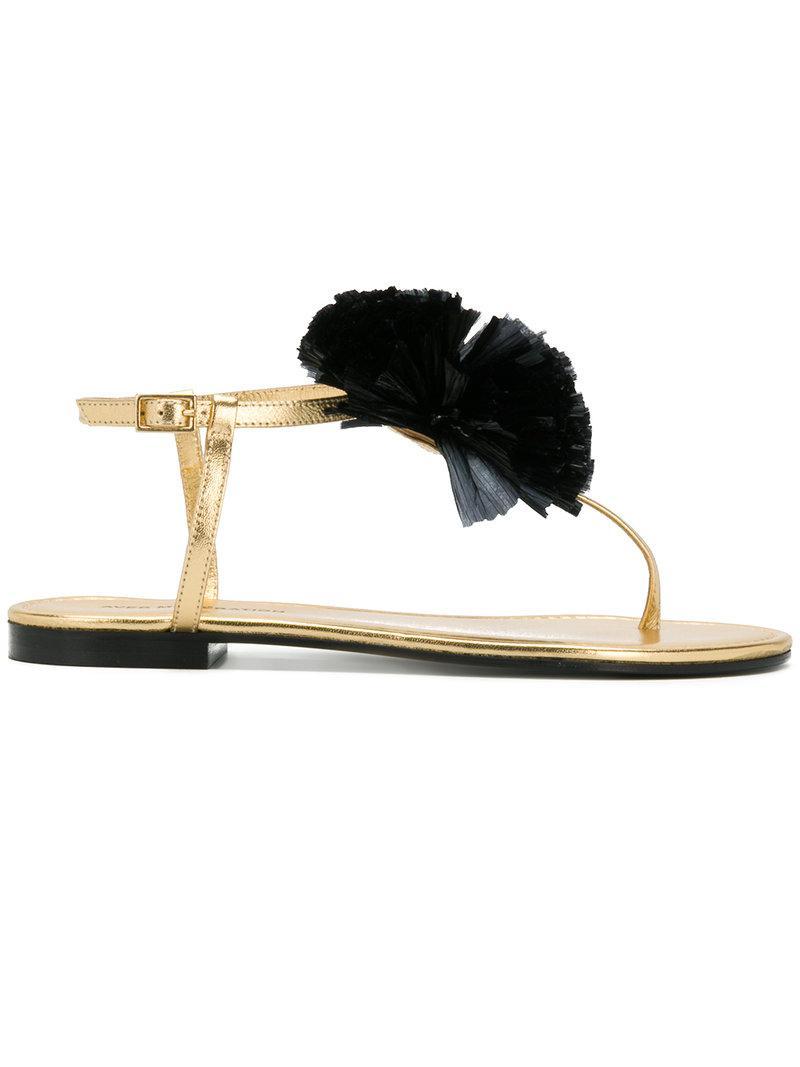 appliqu�� detail sandals - Metallic Avec Moderation UE6UdoF