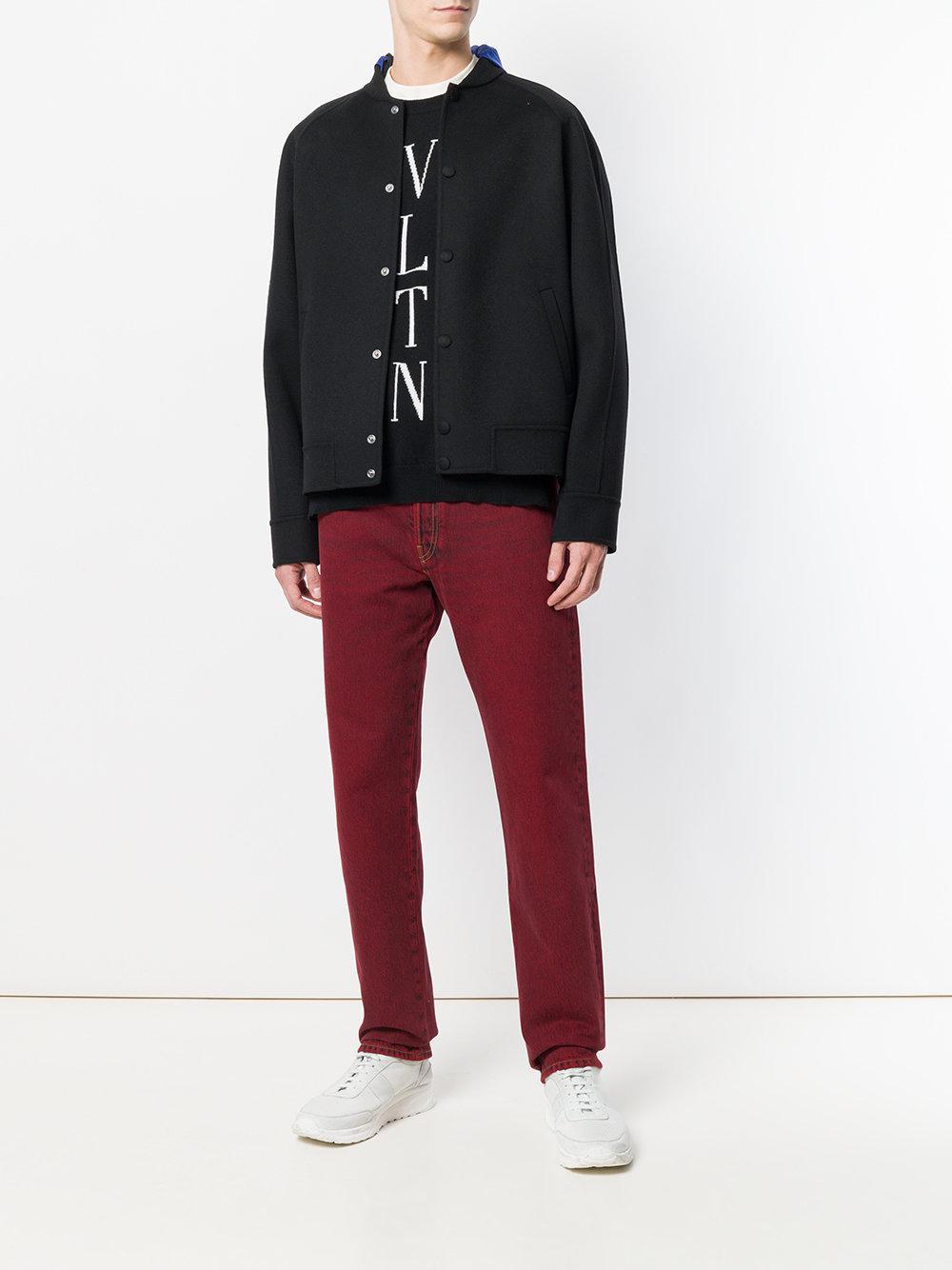 Lyst À Jean Homme Valentino Pour Coloris Rouge En Effet Délavé Skinny 7q74WrwO