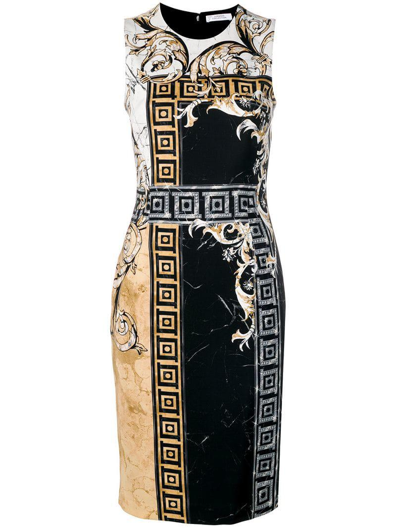 5f3c323c636a Lyst - Versace Marble Baroque Print Dress in Black - Save 38%
