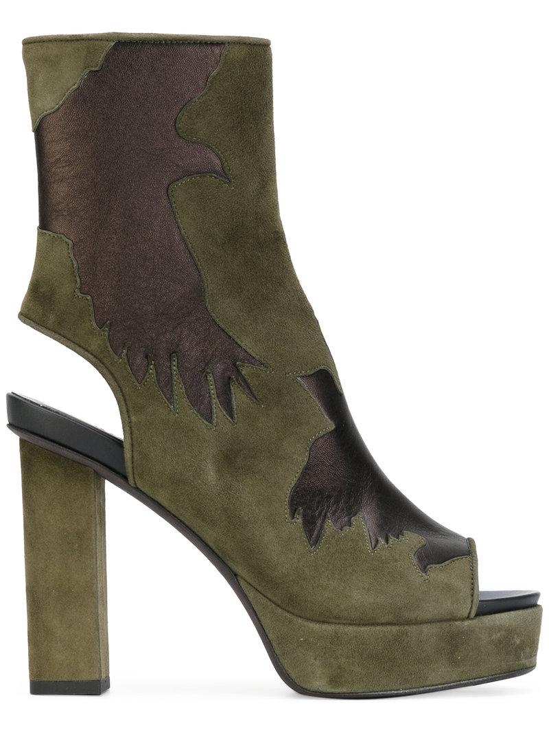 A.F.Vandevorst Cut-out Detail Boots in Green - Lyst fb4c5751762