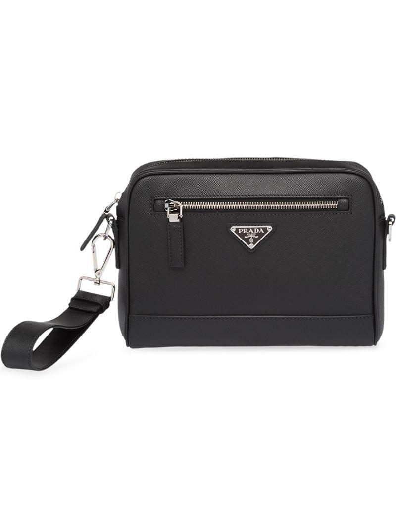 adddf466756316 Prada Saffiano Leather Shoulder Bag in Black for Men - Lyst