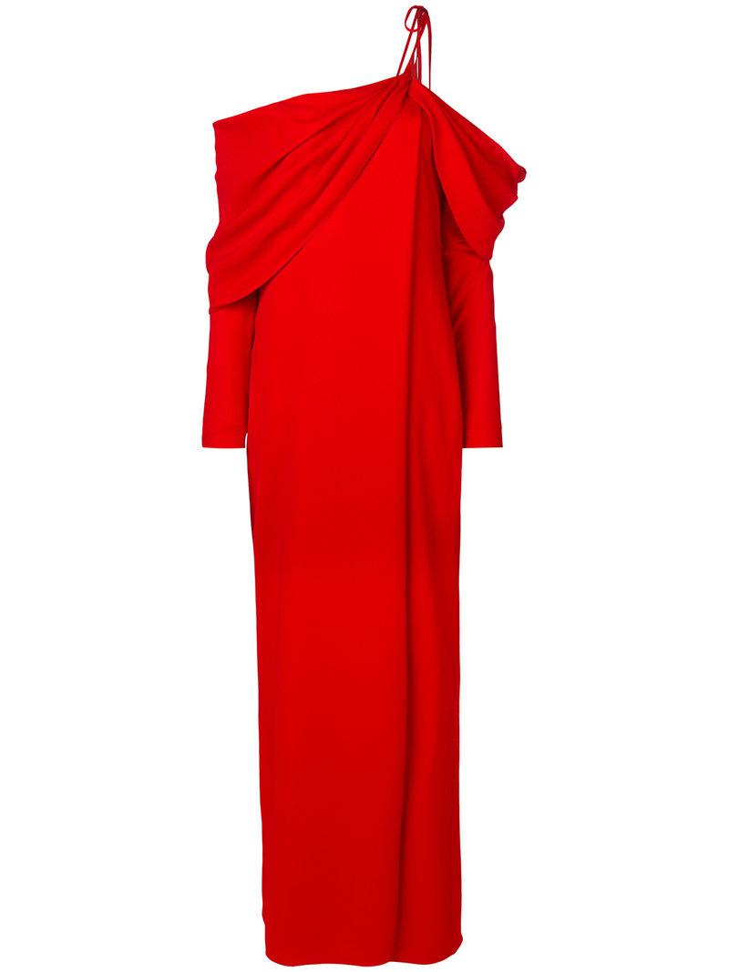 shoulder tie draped evening dress - Red Monse