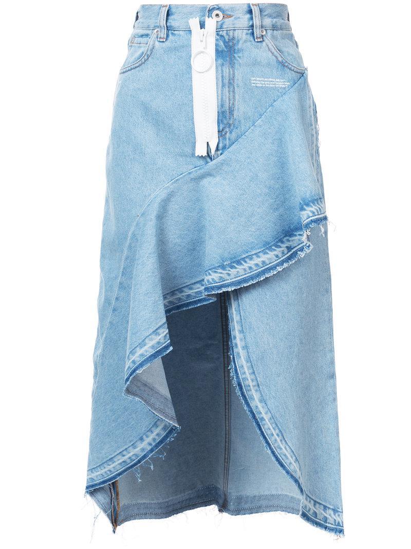 bc14027d35 Lyst - Off-White c/o Virgil Abloh Asymmetric Denim Skirt in Blue