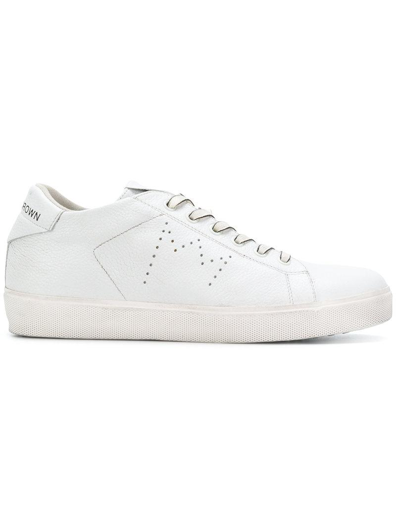Outlet Manchester Leather Crown Lace up perforated sneakers Sale Shopping Online For Sale For Sale Free Shipping MIoRo