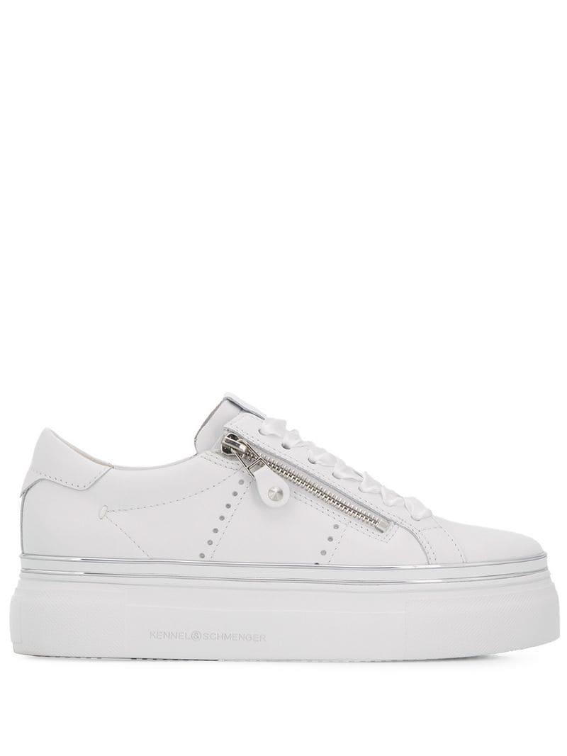 193e1be412ed Kennel   Schmenger Chunky Zipped Sneakers in White - Lyst
