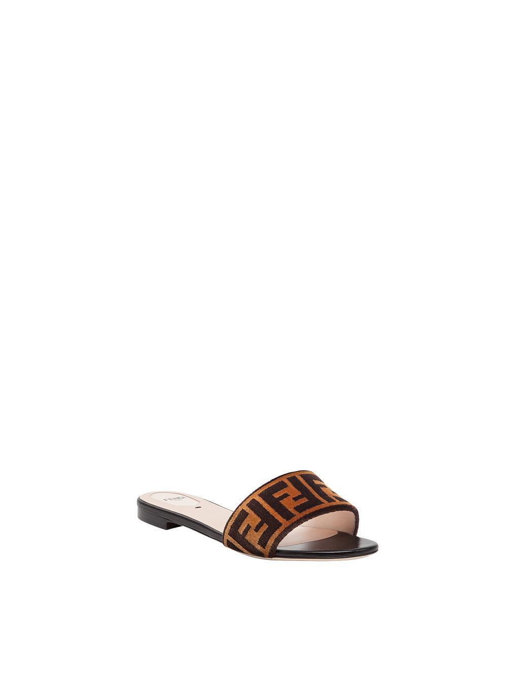 4f0caa86b52e4 Lyst - Fendi Open Toe Flat Sandals in Brown