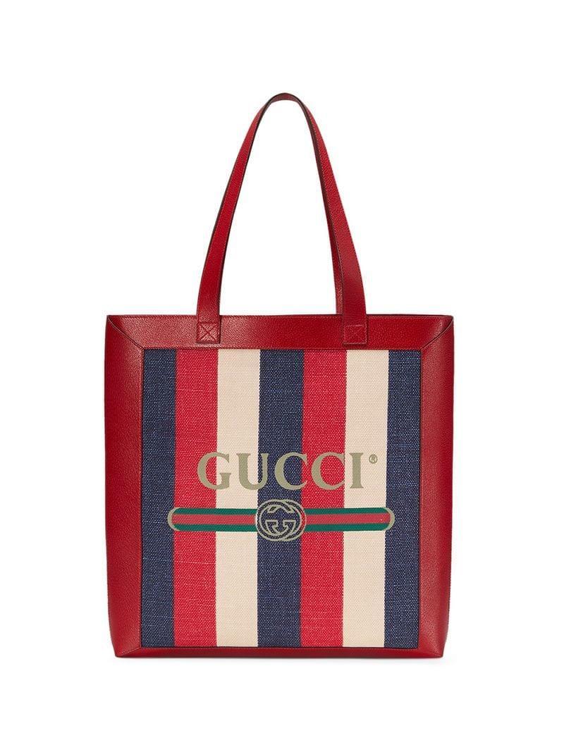 dbec1e807b26 Gucci Tricolor Striped Tote in Red for Men - Save 24% - Lyst