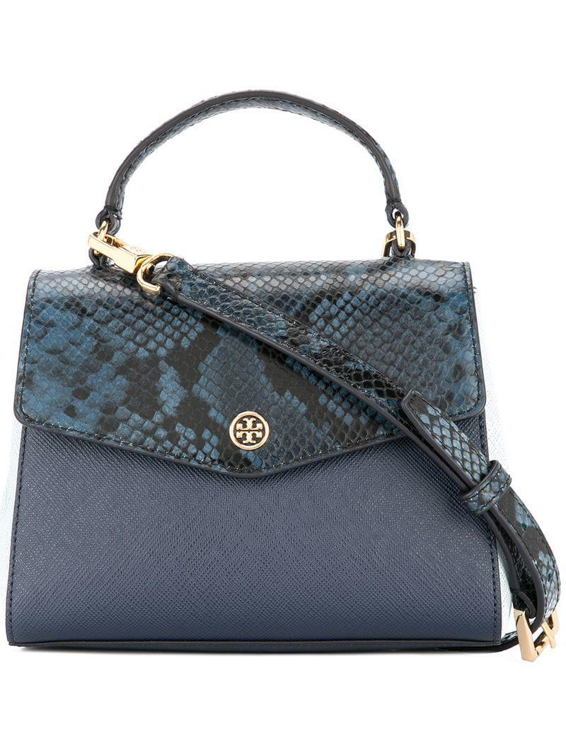4f33fc0a1cd5f Tory Burch Robinson Mixed-materials Top-handle Satchel in Blue - Lyst