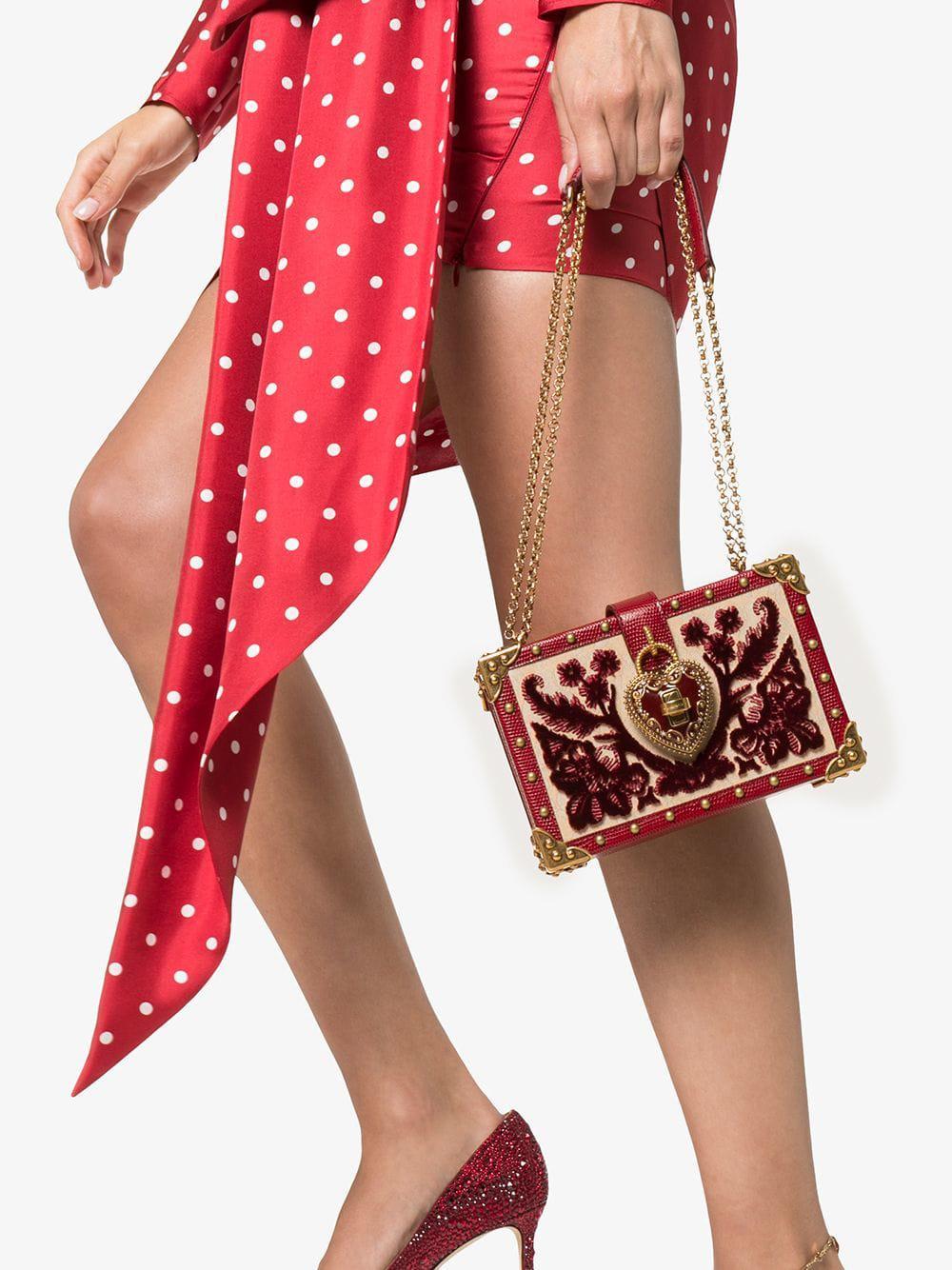 392c09a8c549 dolce gabbana dolce box crocodile leather crystal velvet bag lyst ...