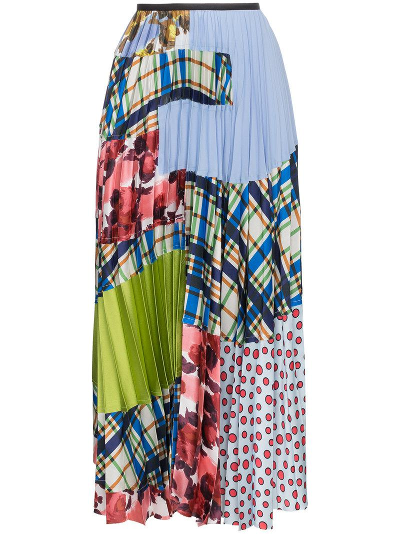 55a53abc98 Lyst - Marni Pleated Patchwork Maxi Skirt in Blue