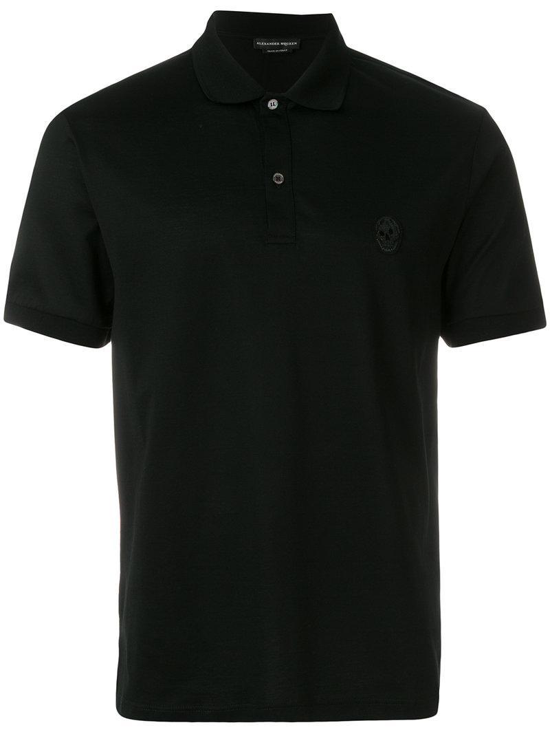 Alexander McQueen. Men's Black Classic Piqué Polo Shirt