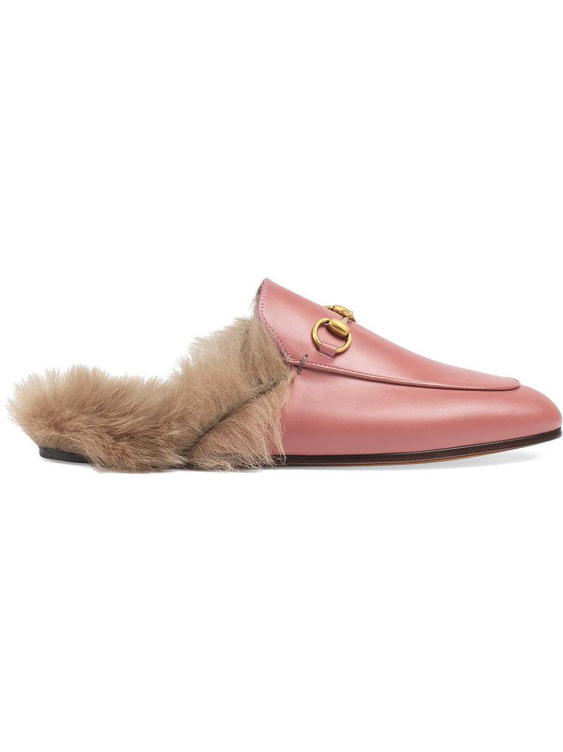 fe01eb525c8 Gucci Princetown Leather Slipper in Pink - Lyst