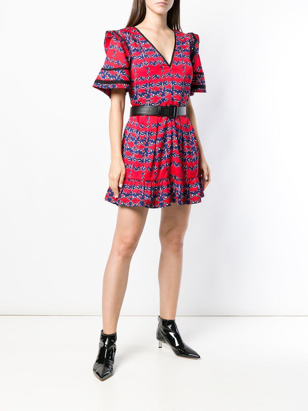 e85d15fdcc4b3 Self-Portrait V-neck Mini Dress in Red - Lyst