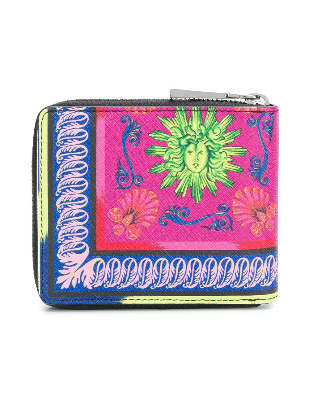 ... new authentic 47953 74379 Versace - Black Baroque Zipped Wallet for Men  - Lyst. a032ce6d48