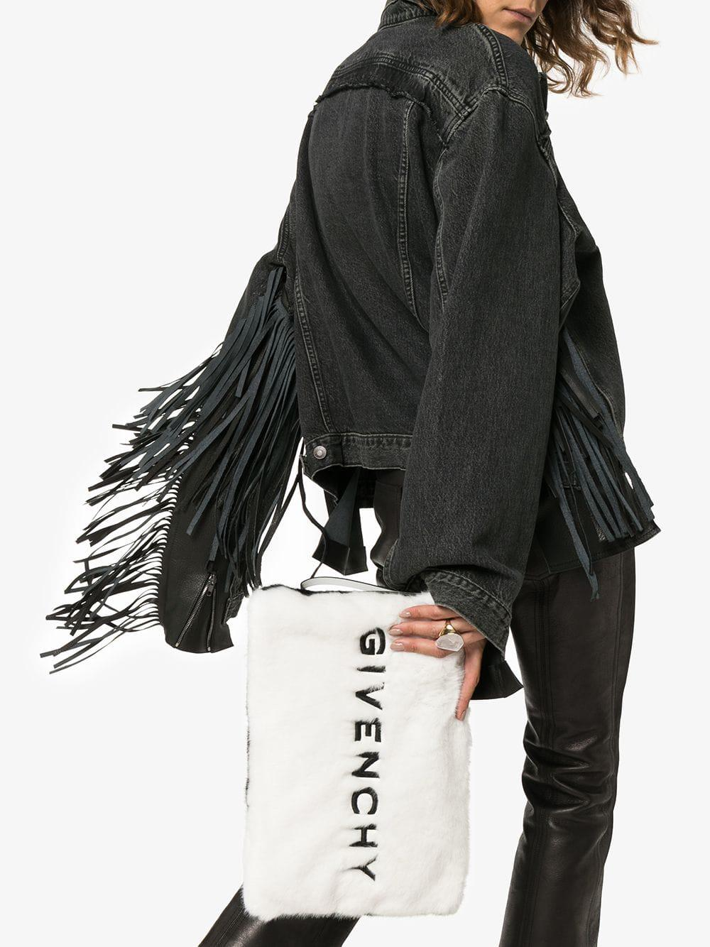 de1487fe6e94 Givenchy - Black Large Faux Fur Clutch - Lyst. View fullscreen