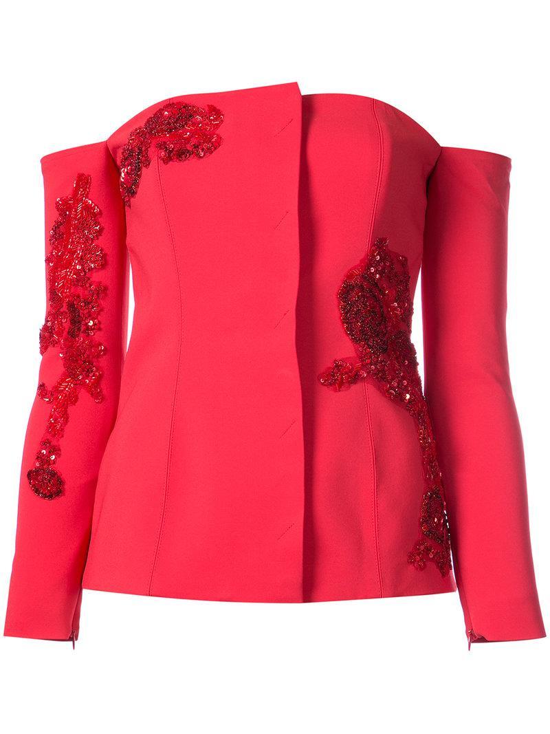 cd3e1cd87392 Lyst - SemSem Camille Off-shoulder Jacket in Red