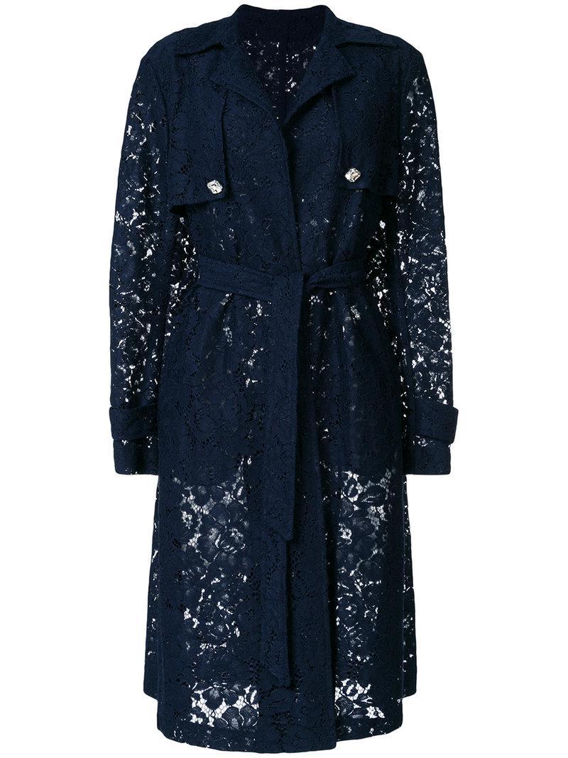 Pinko. Women's Blue Semi-sheer Lace Trench Coat