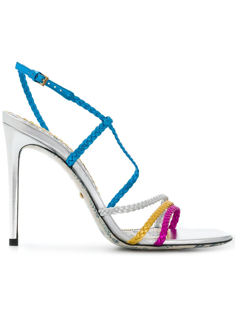 9421efc0f66a Gucci. Women s Blue Haines Braided Metallic Leather Slingback Sandals