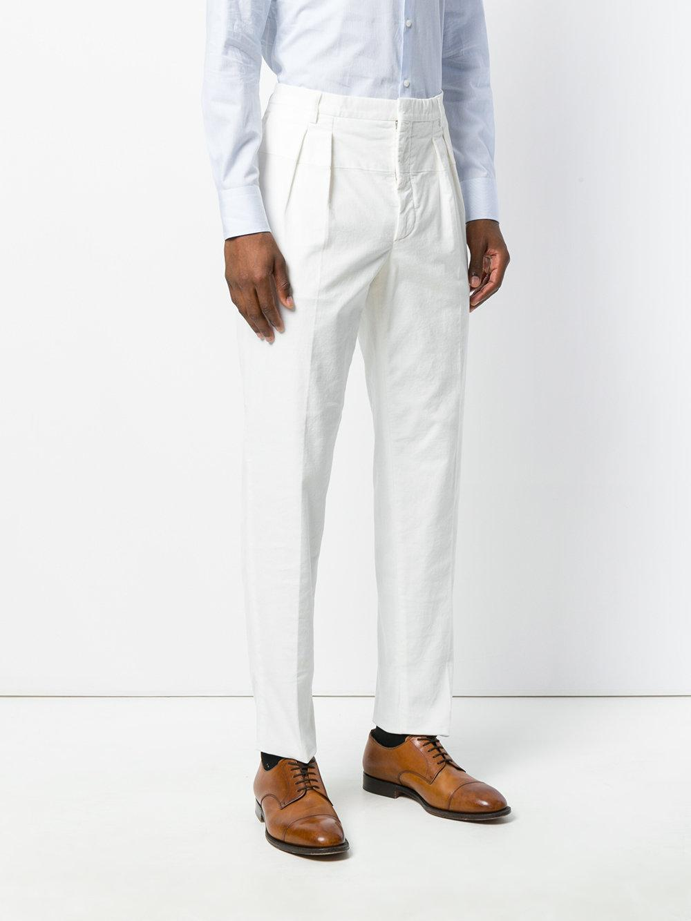 Gabriele Pasini High Waisted Pleated Trousers In White For Men Lyst