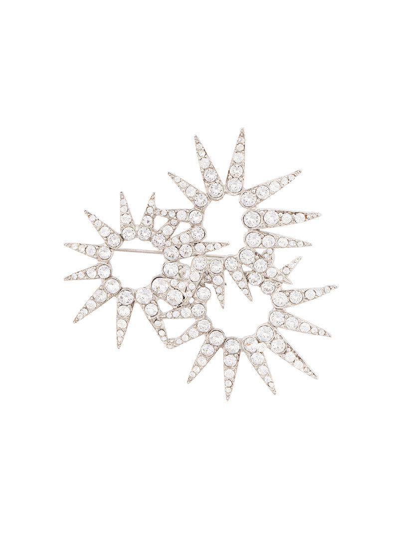 sea urchin crystal brooch - Metallic Oscar De La Renta E3kg9hl27