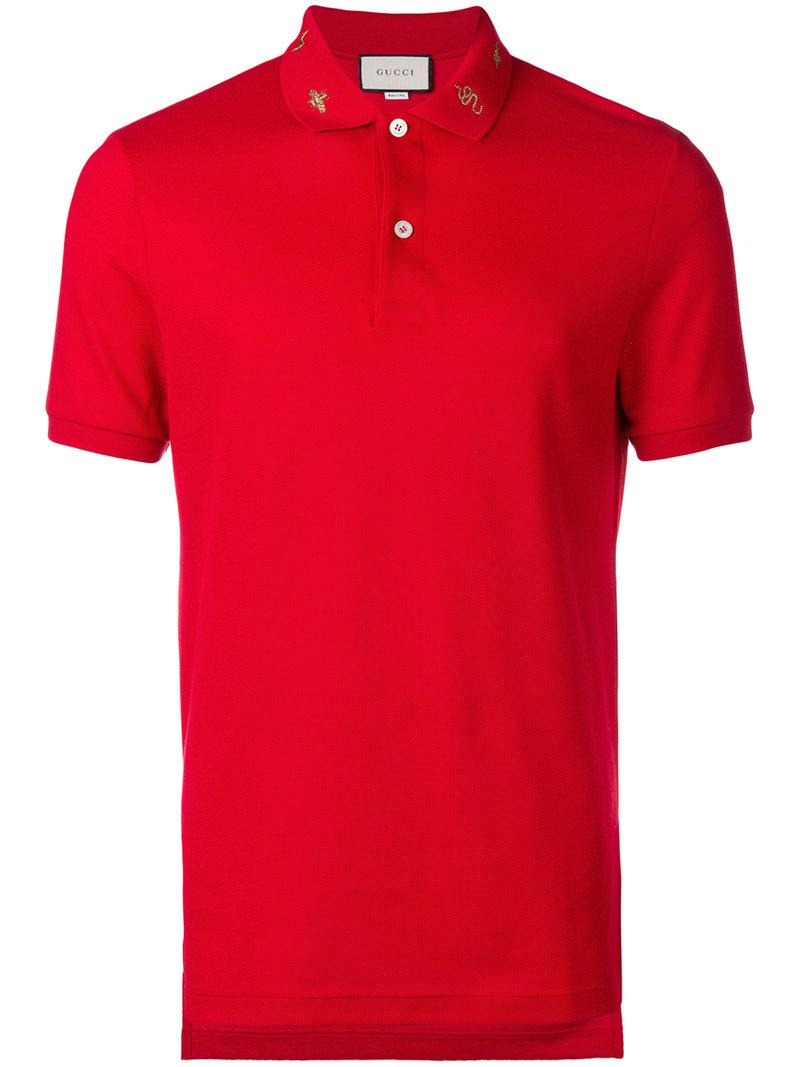 71d05d305ae Gucci - Embroidered Collar Polo Shirt for Men - Lyst. View fullscreen