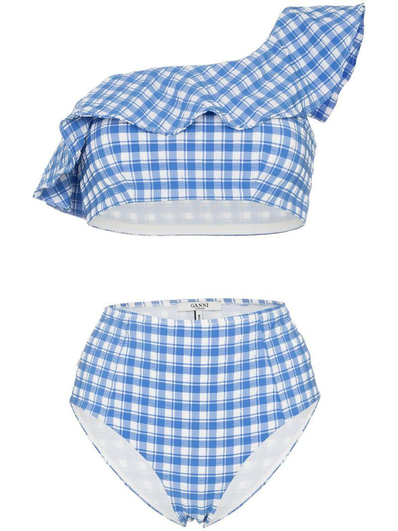 69cf3ea45cb2d Lyst - Ganni Jewett One Shoulder Bikini in Blue - Save 21%