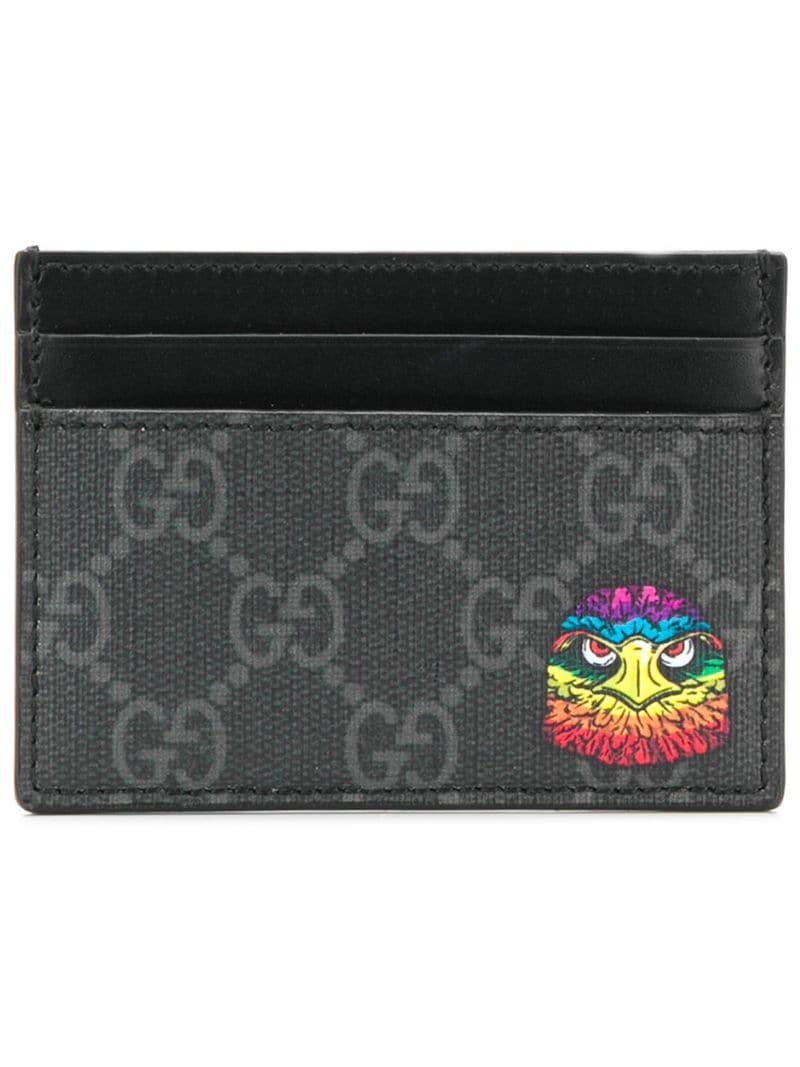 51078c830df Gucci GG Supreme Eagle Head Cardholder in Black for Men - Lyst