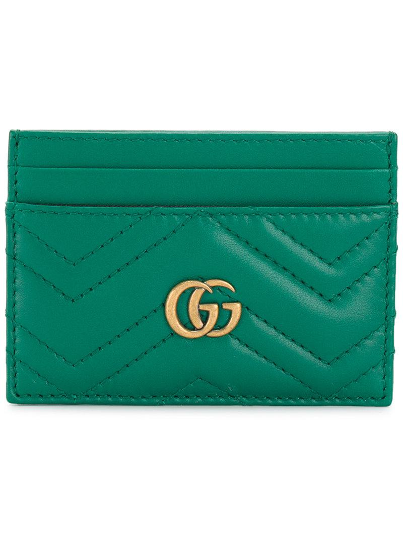 742049d99f2 Lyst - Gucci Gg Marmont Card Holder in Green